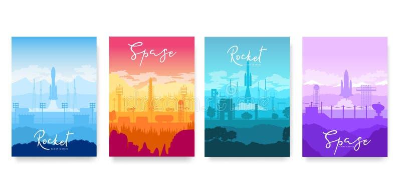 Decolagem do grupo de cartões do folheto do vetor do foguete Molde de flyear, compartimentos do voo espacial, cartaz, angra do li ilustração do vetor