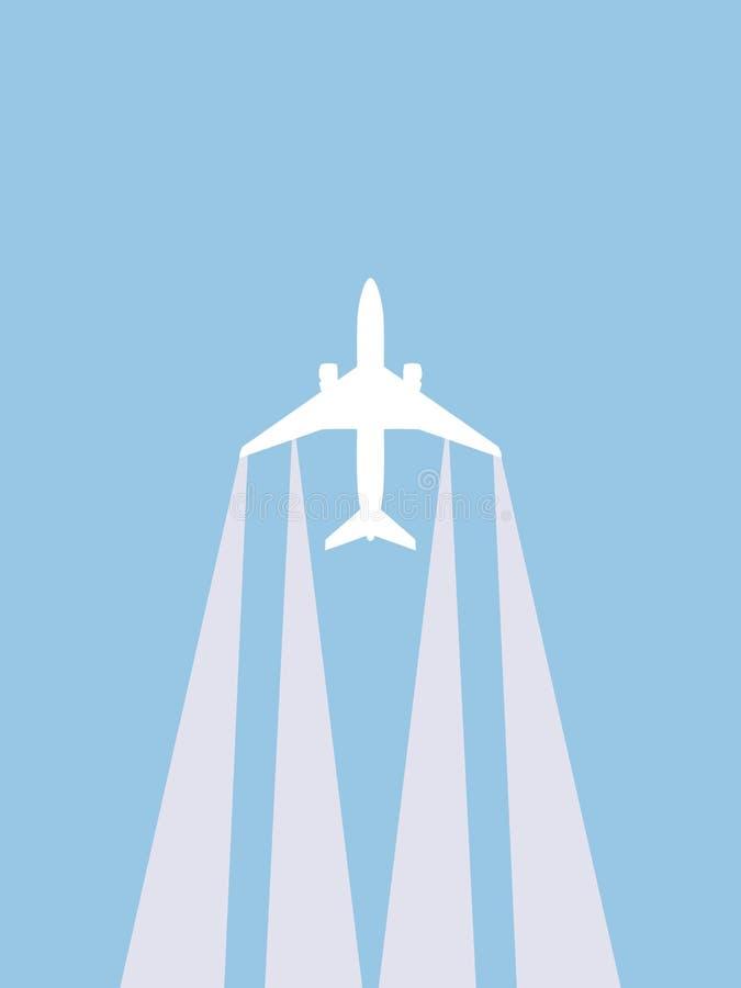 Decolando o plano contra o céu ilustração royalty free