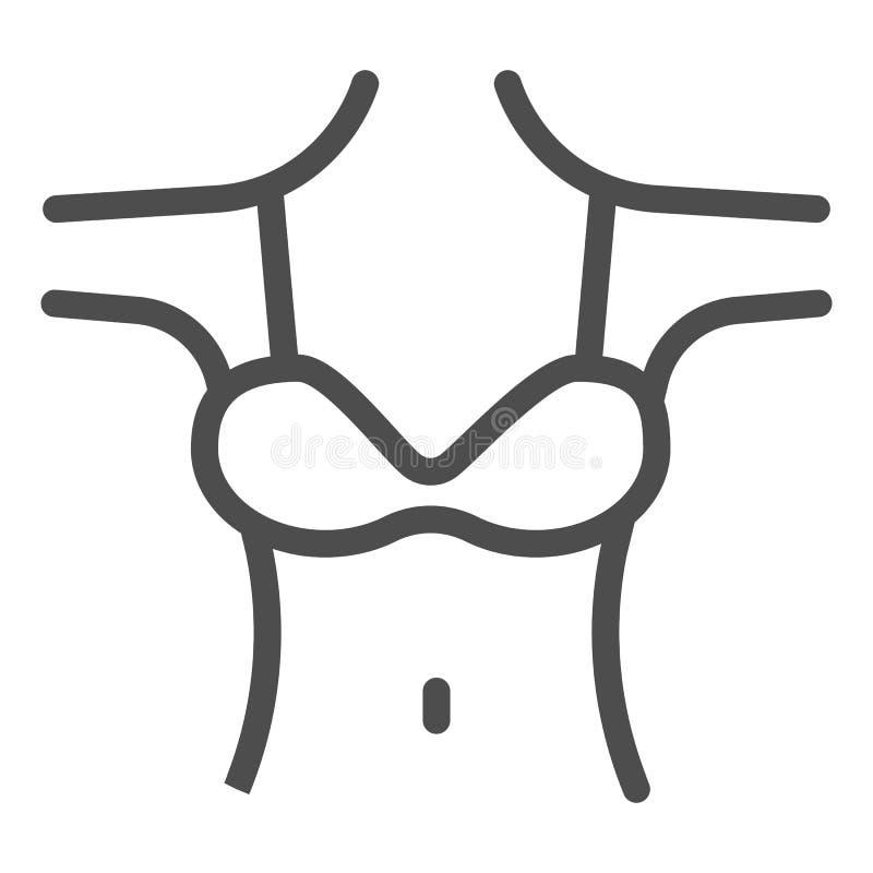 Decollete Linie Ikone der Frau r Entwurfsartentwurf des weiblichen Körpers stock abbildung