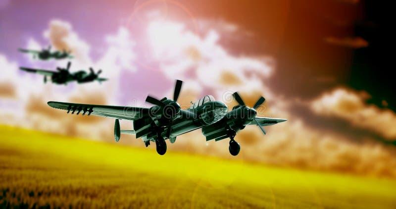 Decollo del bombardiere WW2 immagini stock