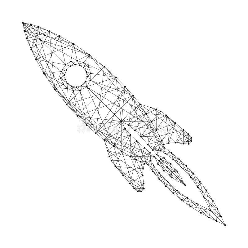 Decollo del razzo di spazio cartoonish dalle linee e dai punti neri poligonali futuristici dell'estratto Illustrazione di vettore illustrazione di stock