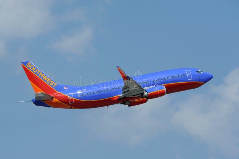 Decollo piano del Southwest Airlines immagini stock