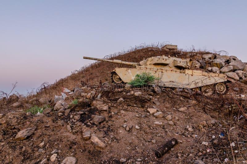 Decommissioned Izraelicki centurionu zbiornik używać przy Tel Saki na wzgórze golan w Izrael obrazy royalty free