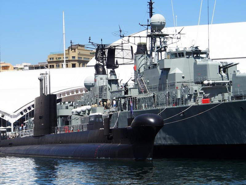 Decommissioned Warships. Decommissioned submarine, HMAS Onslow, and destroyer, HMAS Vampire, at Australian National Maritime Museum, Darling Harbour, Sydney stock image