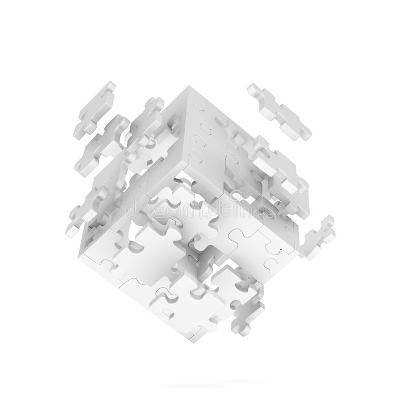 Decomposed Cube Of Puzzle Royalty Free Stock Photo