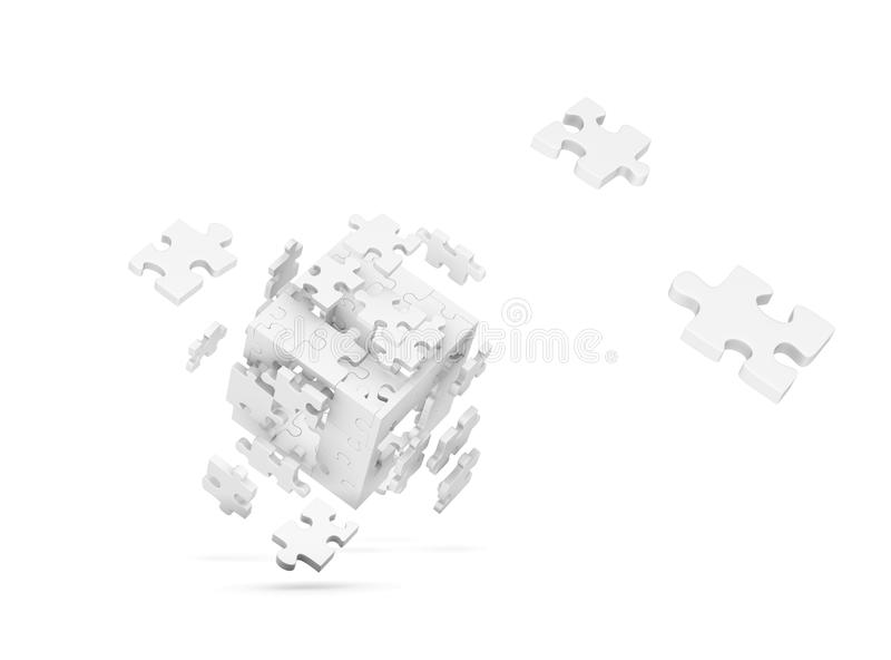 Download Decomposed cube of puzzle stock illustration. Image of close - 12840093