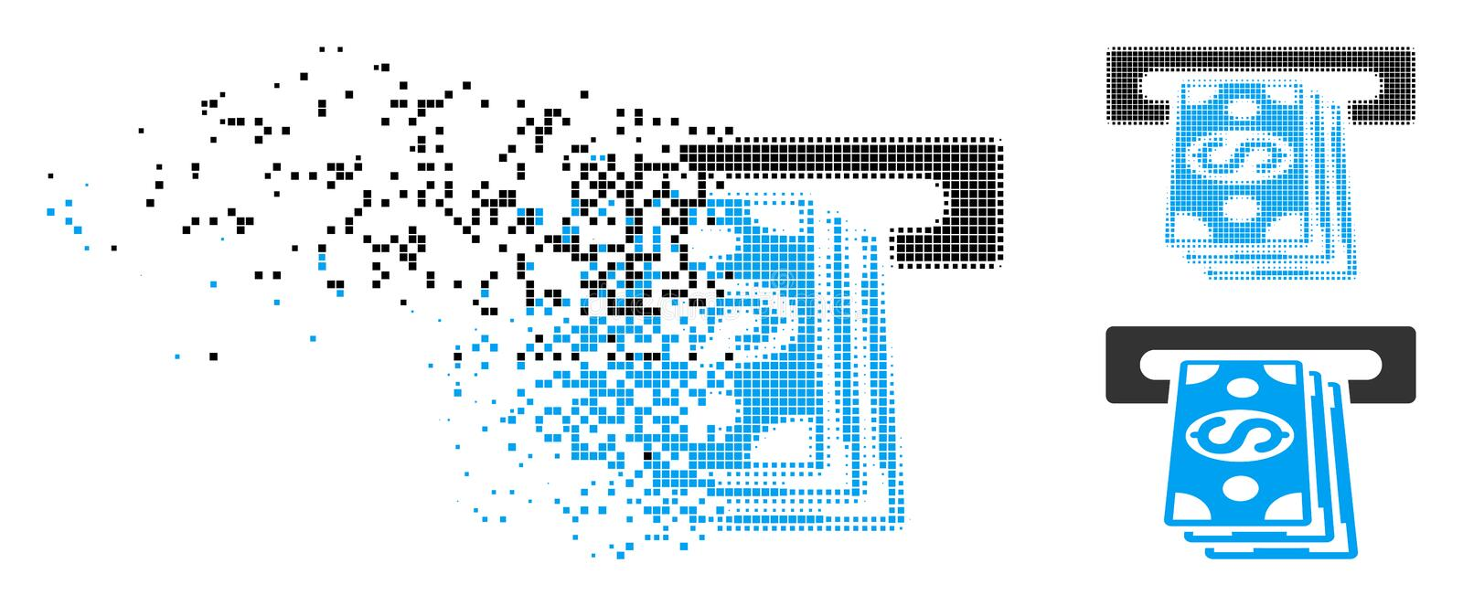 Decomposed Dotted Halftone Cash Machine Icon. Cash machine icon in fractured, pixelated halftone and undamaged variants. Pixels are organized into vector royalty free illustration