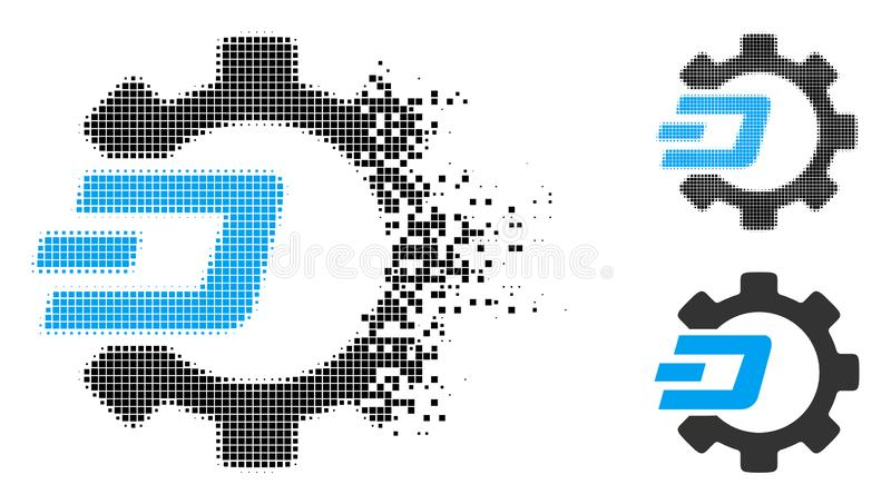 Decomposed Dotted Halftone Dash Process Gear Icon. Dash process gear icon in dispersed, dotted halftone and undamaged whole variants. Pixels are composed into royalty free illustration