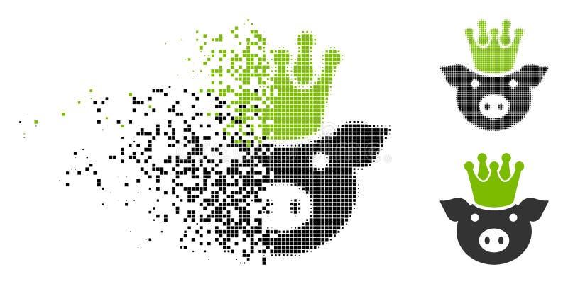 Decomposed Pixel Halftone King Pig Icon royalty free illustration
