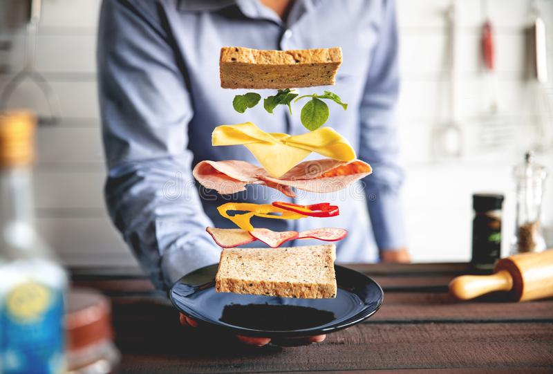 Deconstructed sandwich layers in kitchen. Food breakfast royalty free stock photo
