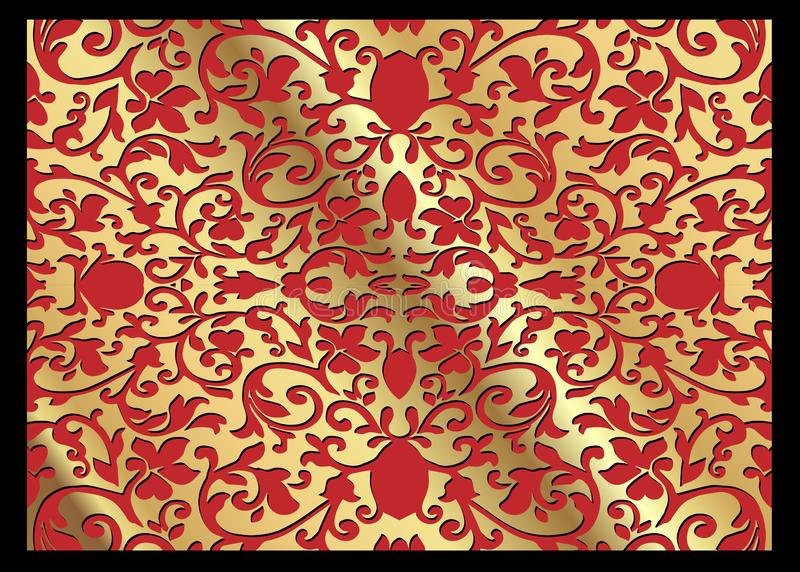 A luxury vintage vector card. Red background with beautiful ornaments and gold frame. Golden ornate decorative. Line art, lace stock illustration