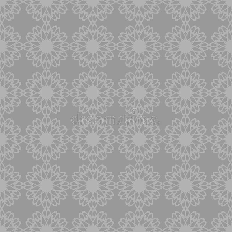 Decor background with flowers seamless. On grey royalty free illustration
