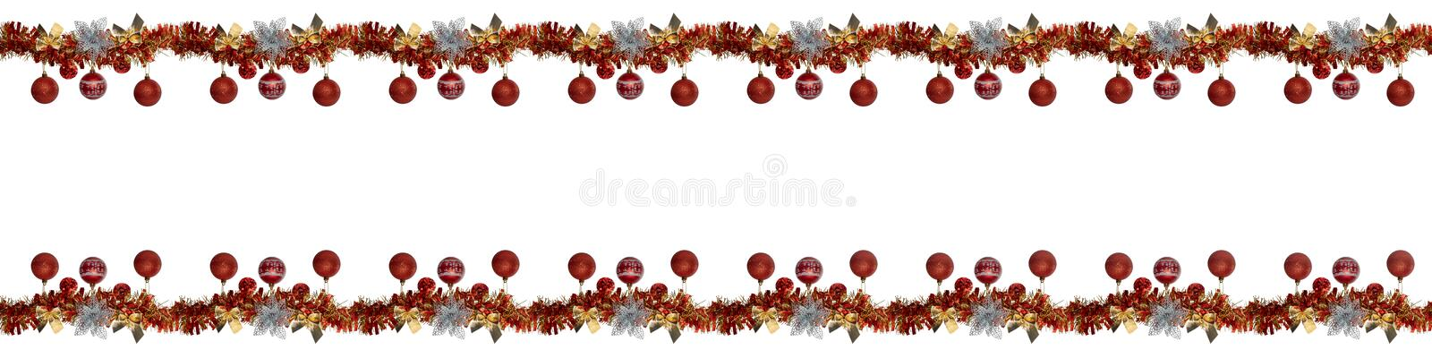 Decor  border Christmas garland bows silver flower Christmas tree red balls isolated white. Decor for Christmas royalty free stock image