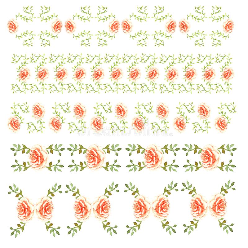 Decor of a border line of peach delicate roses with green leaves loach garden beautiful light pattern isolated on white background. Decor of a border line of royalty free illustration