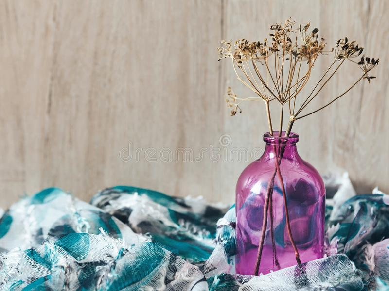 Decor dry twigs in a bottle stock photography