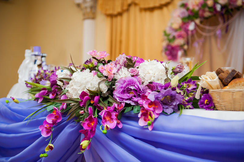 Download Decor Of Flowers On A Table Bride And Groom Stock Image   Image Of  Formal