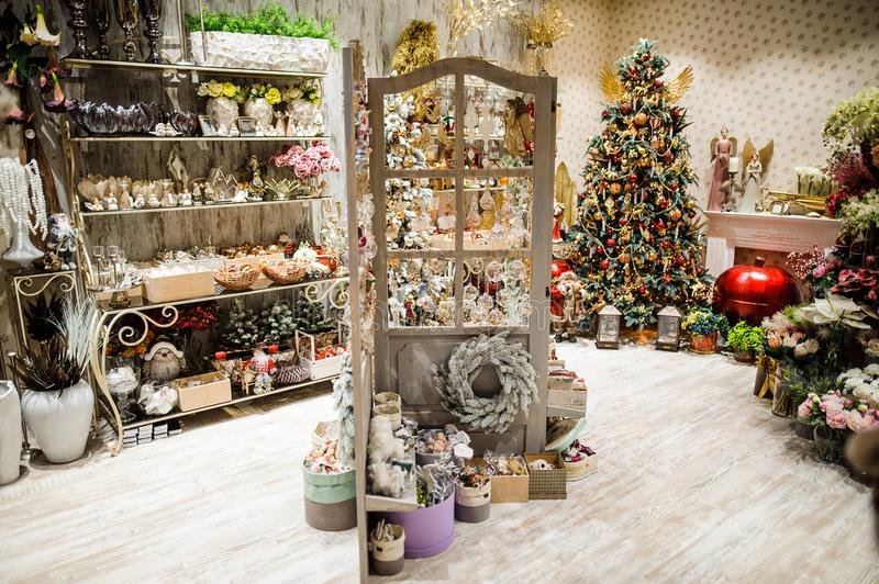 Decor market in the Christmas and New Year holidays. Festive mood royalty free stock photo