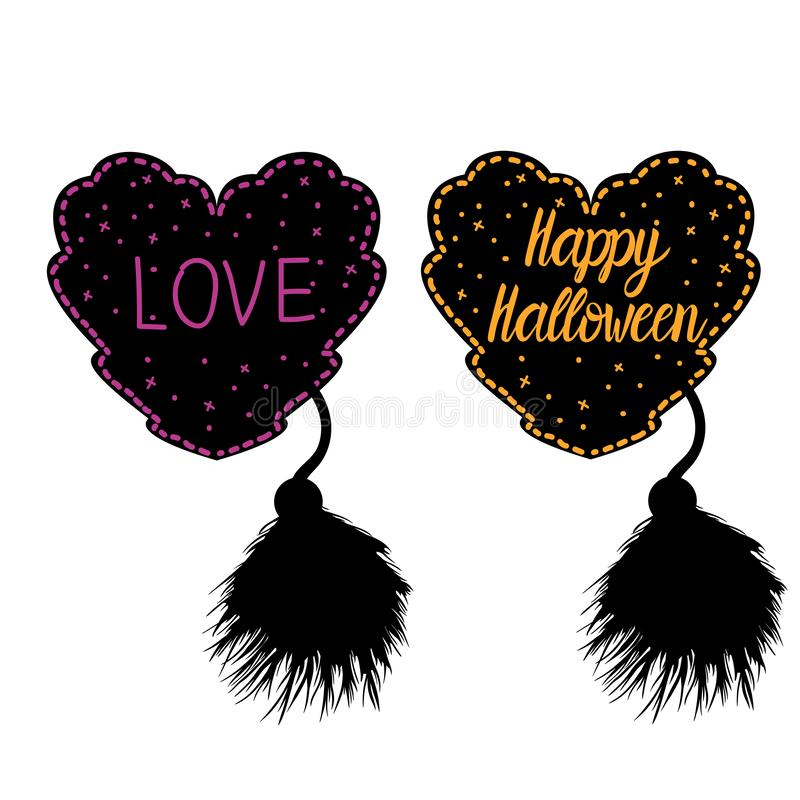 Decor in the style of a female costume for Halloween. Heart lacy black with a fluffy brush. Vector illustration isolated stock illustration