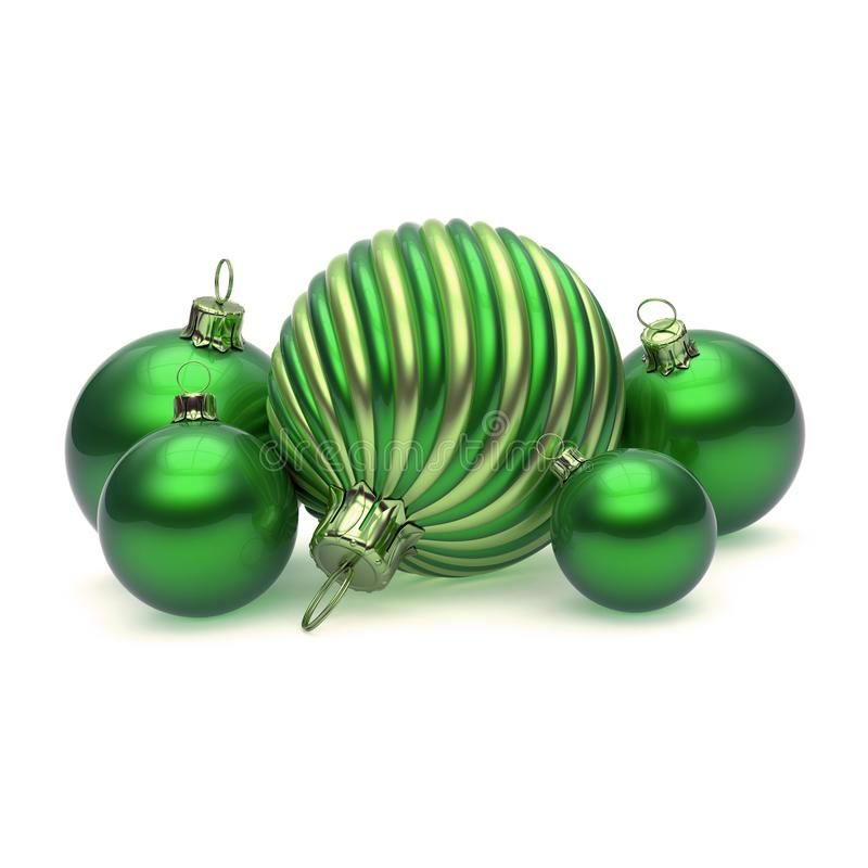 Decoração à moda verde das bolas do Natal do Xmas fotografia de stock royalty free