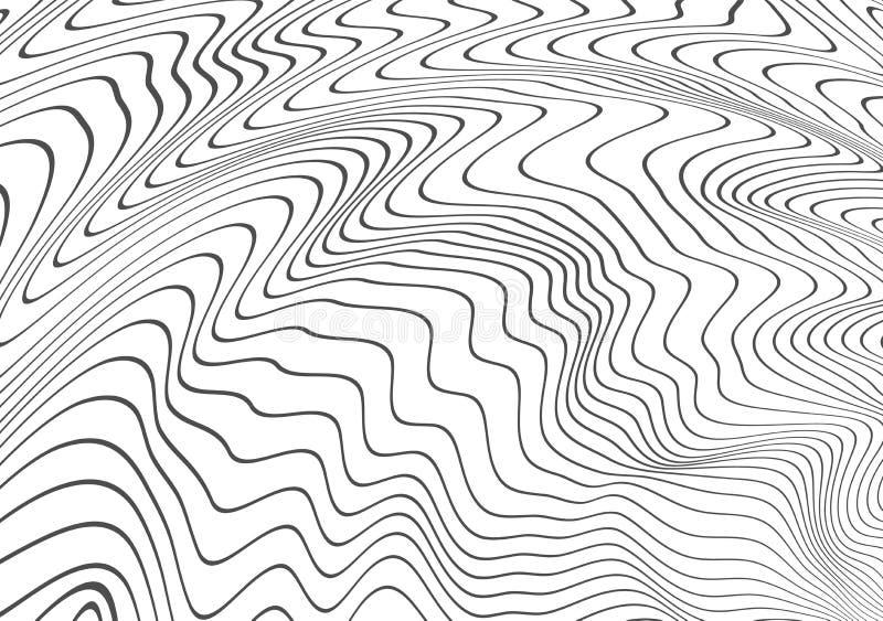Decoração abstrata de linhas distorcidas onduladas Enrolamento preto, onda do relevo Textura Molde do vetor com a capacidade para ilustração do vetor