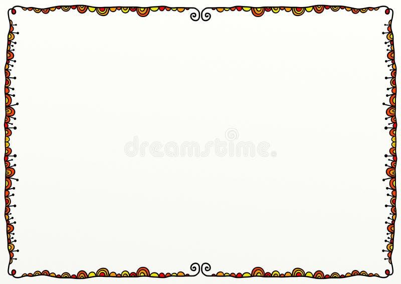 Decoração alaranjada da beira da garatuja ilustração stock