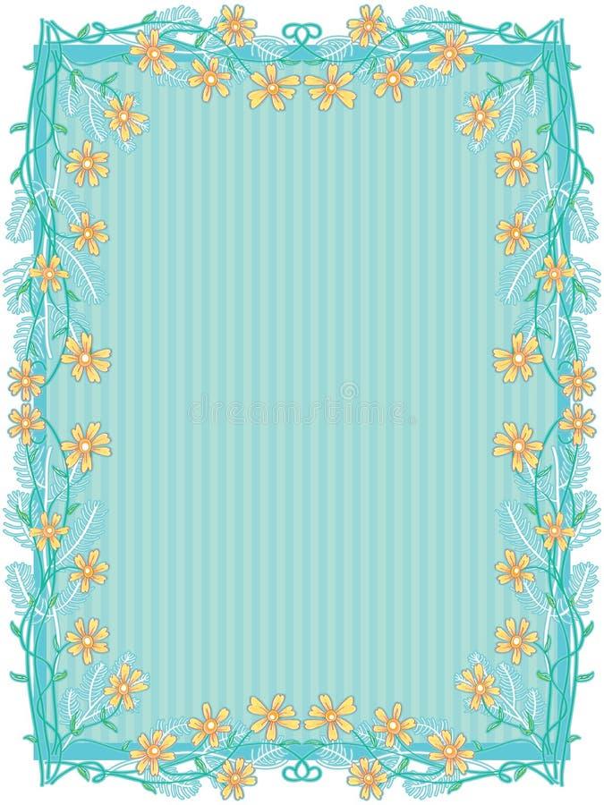 Decoração amarela do quadro das flores ilustração royalty free