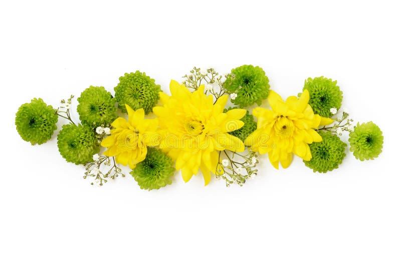 Decoração amarela e verde das flores fotos de stock