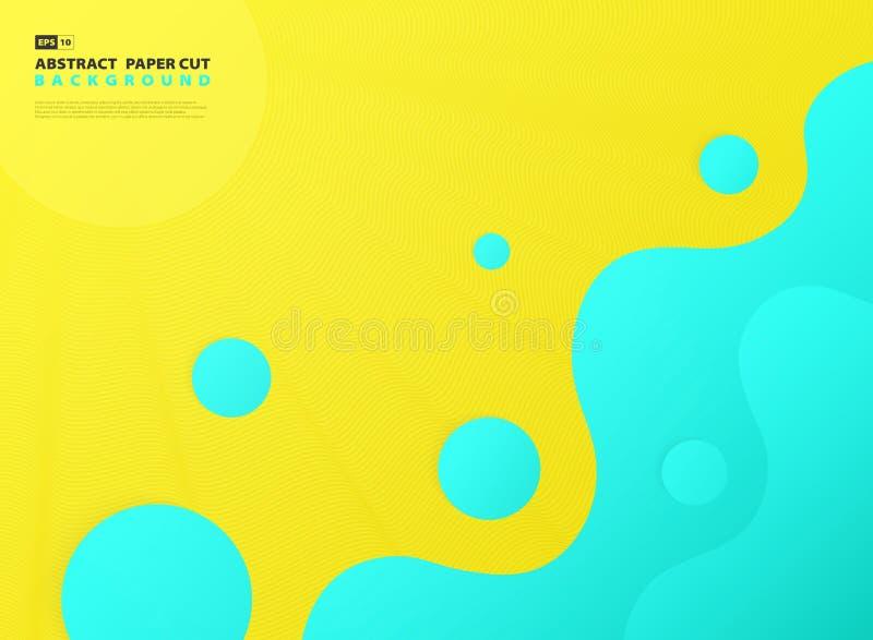 Decoração azul do projeto do teste padrão ondulado do inclinação do sumário no fundo amarelo Vetor eps10 da ilustra??o ilustração royalty free