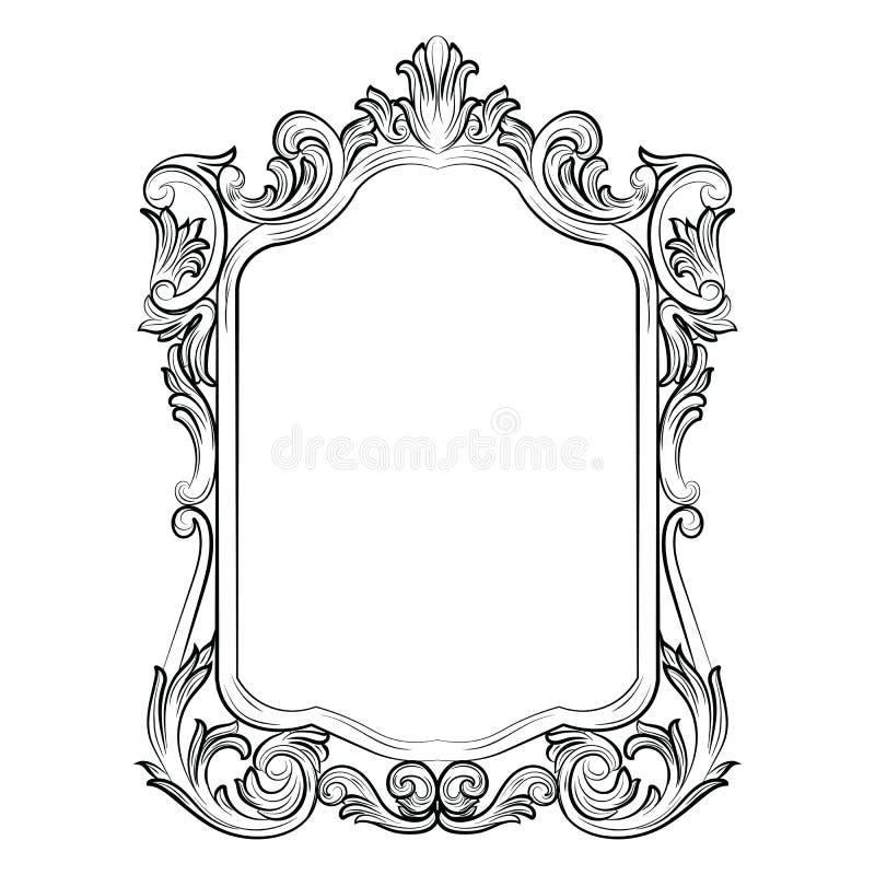 Decoração barroco do quadro do espelho dos rococós fotos de stock