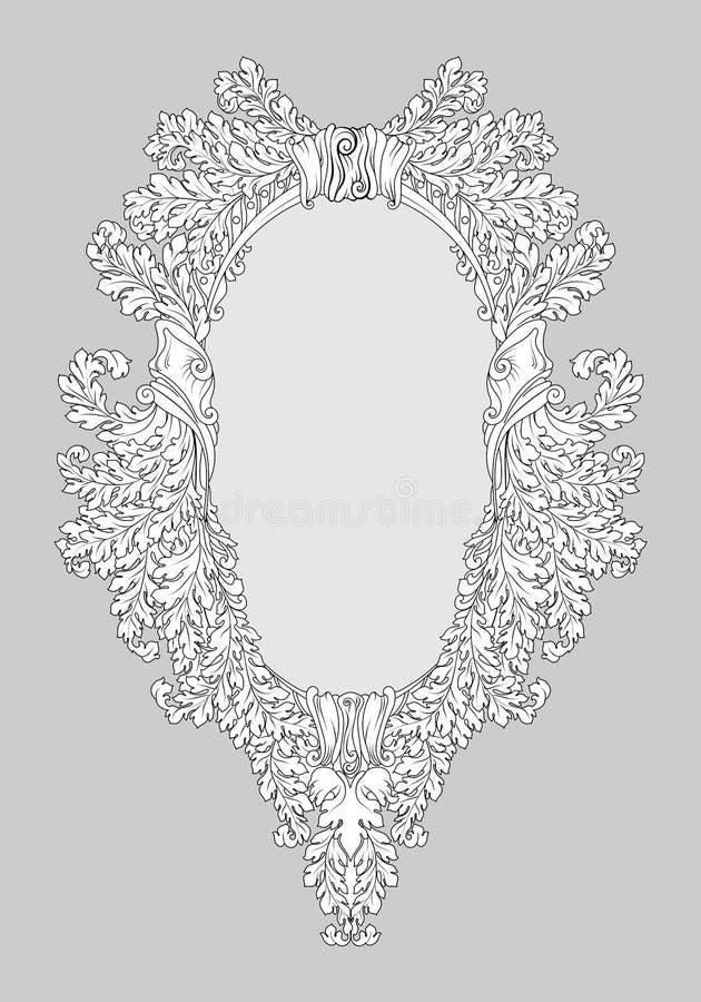 Decoração barroco do quadro do espelho dos rococós Vector ricos luxuosos franceses ornamento e quadros cinzelados da parede Quadr ilustração royalty free