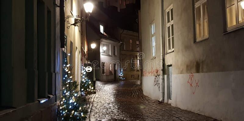 Decoração bonita do Natal de Tallinn em nivelar o panorama da cidade de Tallinn em luzes da cidade da noite imagem de stock