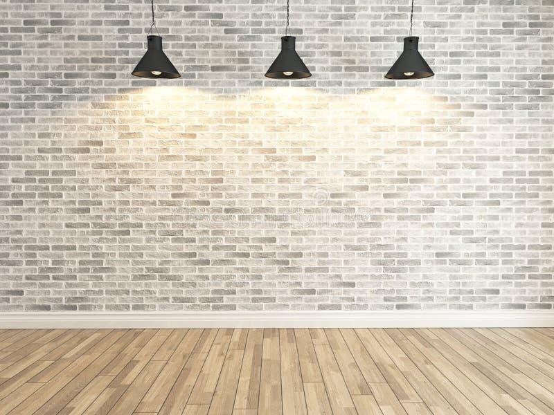 Decoração branca da parede de tijolo sob a rendição clara de três pontos ilustração do vetor