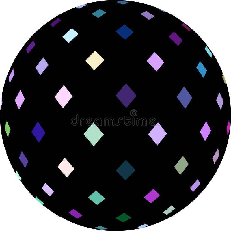 decoração branca lilás azul dos cristais de mosaico do preto da esfera 3d Simbol geométrico isolado ilustração stock