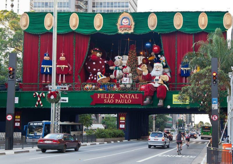 Decoração Brasil do Natal da avenida de Paulista foto de stock royalty free