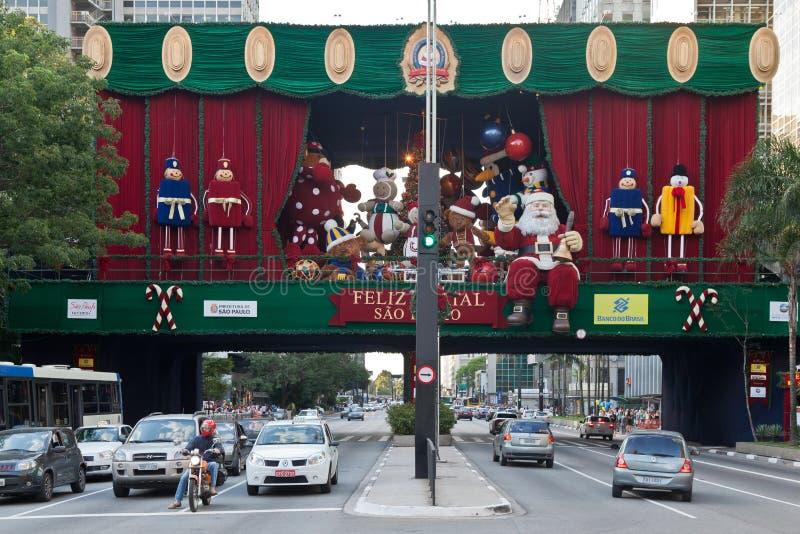 Decoração Brasil do Natal da avenida de Paulista fotos de stock royalty free