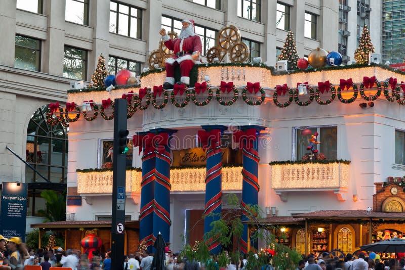 Decoração Brasil do Natal da avenida de Paulista foto de stock