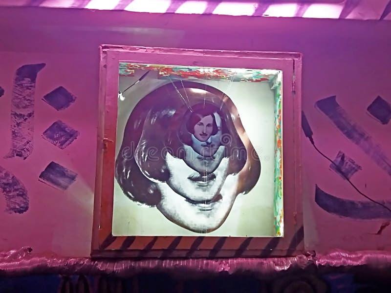 Decoração a cara do escritor ucraniano famoso Mykola Gogol no quadro do festival de Art Air contemporâneo GogolFest, Vinnytsia fotos de stock royalty free