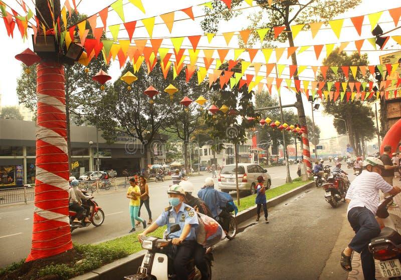 Decoração chinesa do ano novo em Ho Chi Minh fotografia de stock royalty free