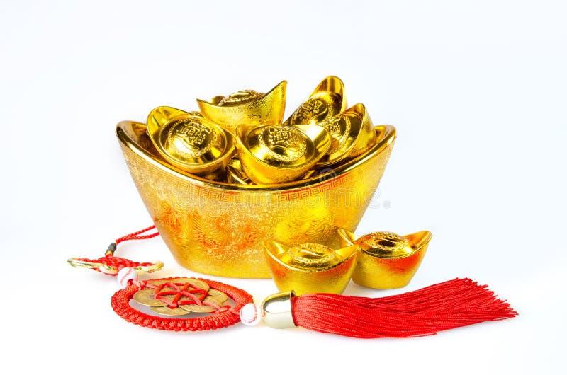 Decoração chinesa dos lingotes do ouro fotos de stock