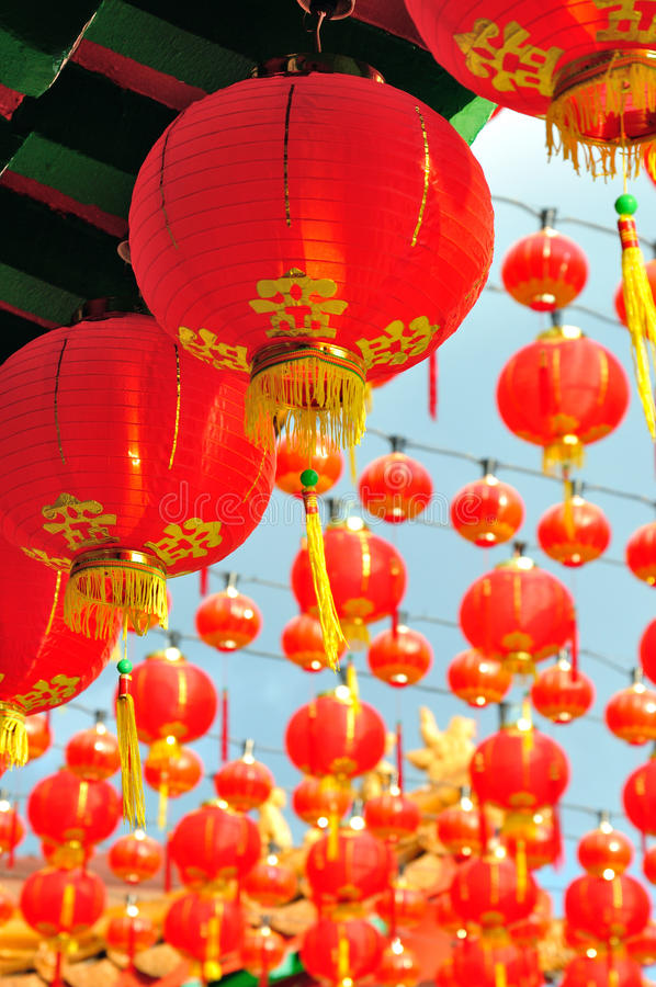 Decoração chinesa vermelha da lanterna de papel foto de stock royalty free