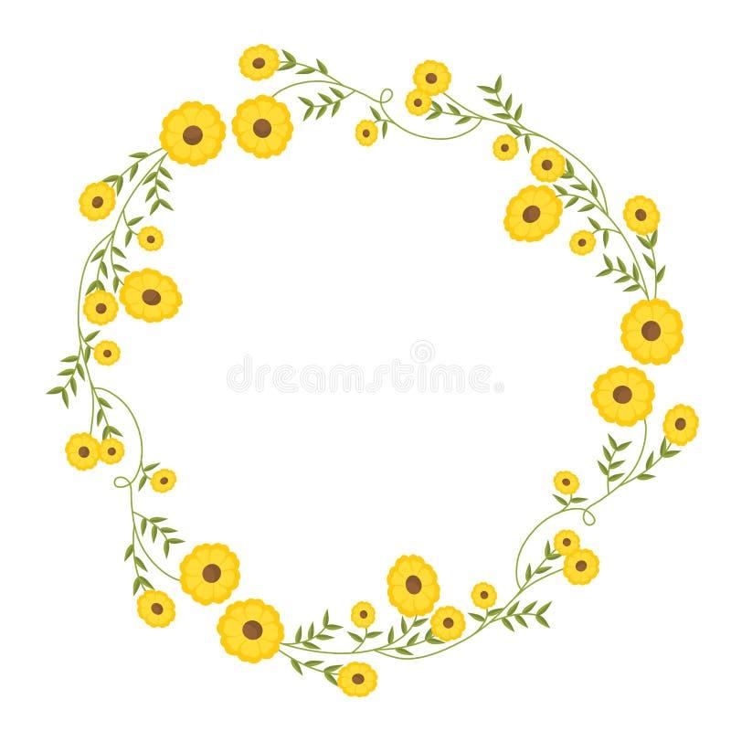 Decoração circular floral da grinalda com flores amarelas ilustração royalty free