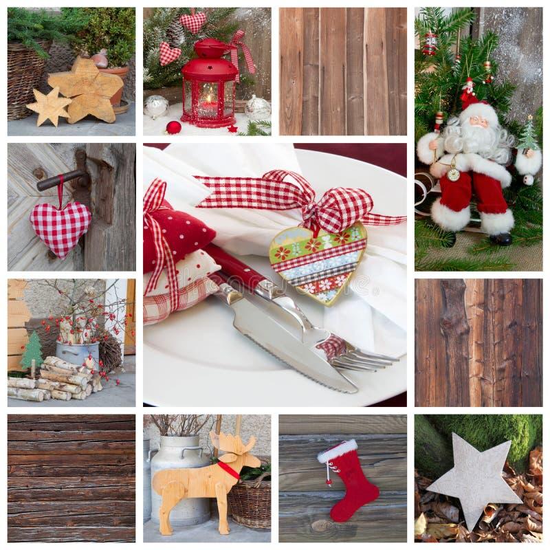 Decoração clássica do Natal no vermelho verificado e verde com candl imagens de stock