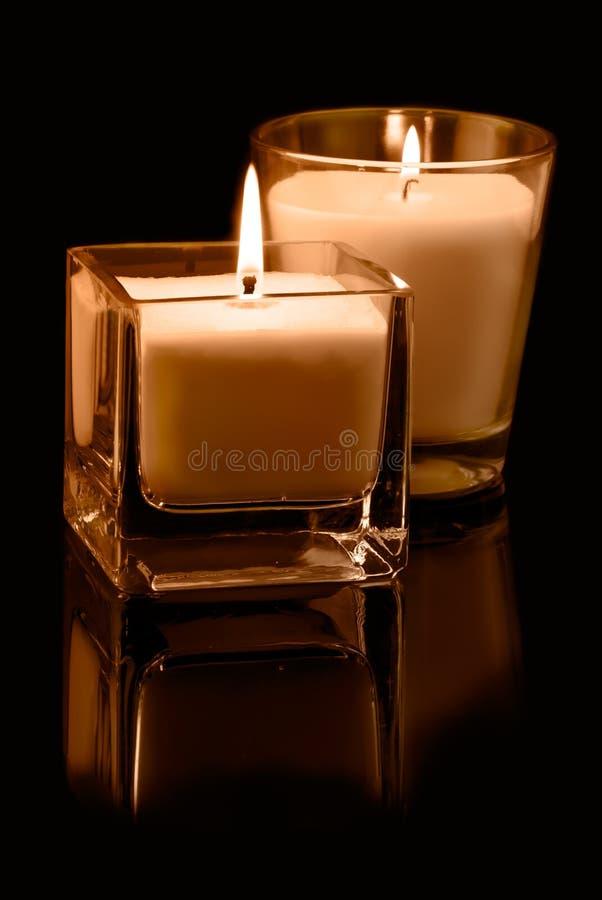 Decoração com velas fotografia de stock