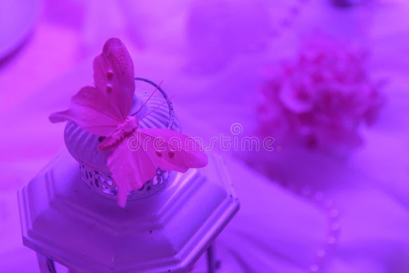 Decoração cor-de-rosa da borboleta do casamento imagem de stock royalty free