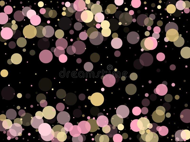 Decoração cor-de-rosa do círculo dos confetes do ouro para o fundo da bandeira do Natal ilustração stock