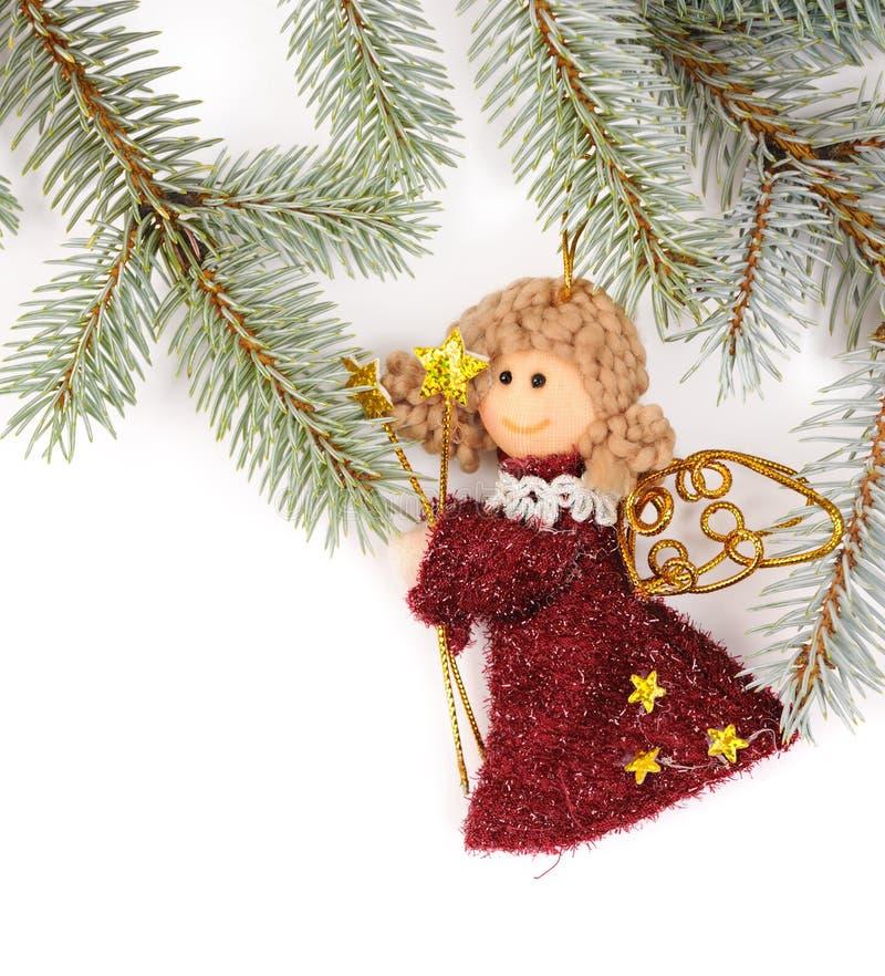 Decoração da árvore de Natal com anjo foto de stock royalty free