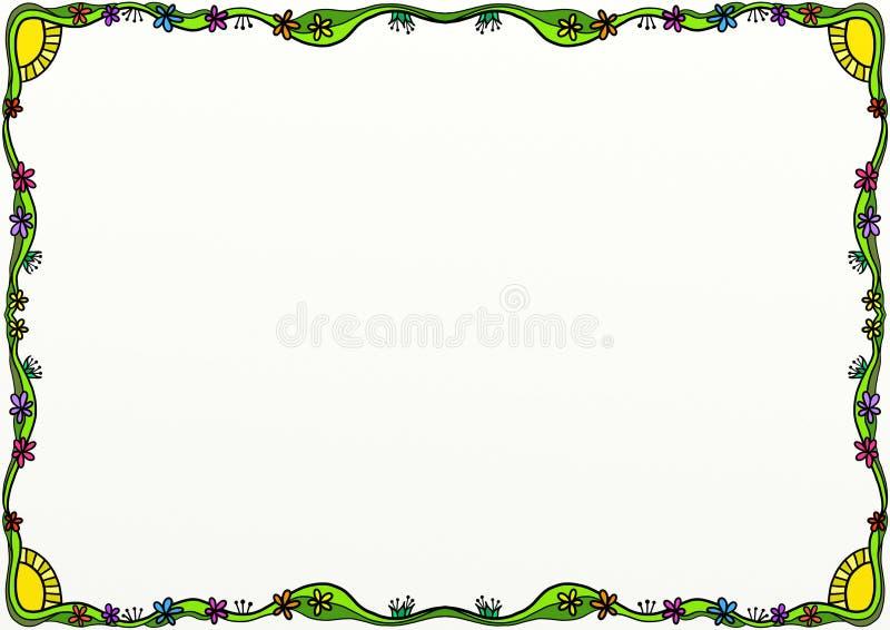 Decoração da beira da página da garatuja da mola ilustração stock