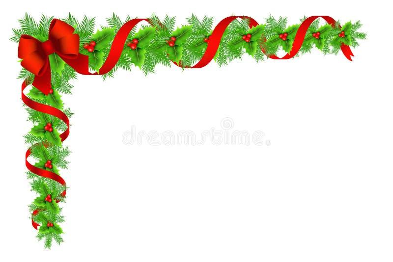 Decoração da beira do azevinho do Natal ilustração royalty free