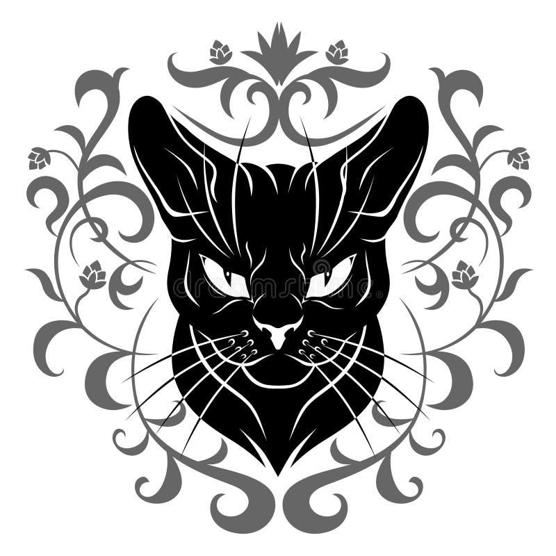 Decoração da cara do gato preto ilustração royalty free