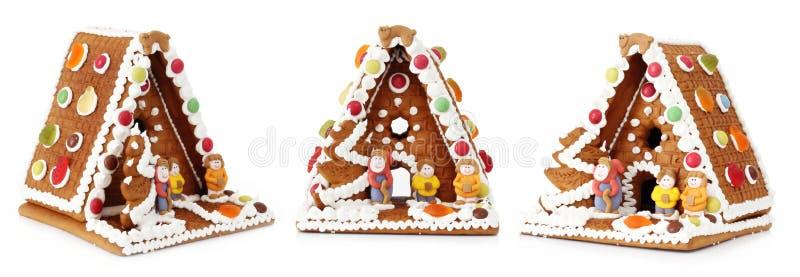 Decoração da casa de pão-de-espécie do Natal fotos de stock